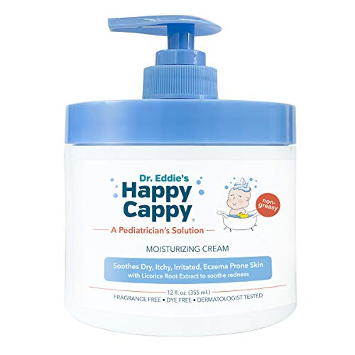 Dr. Eddie's Happy Cappy Moisturizing Cream For Children, Soothes Dry, Itchy, Irritated, Eczema Prone Skin, Dermatologist Tested, No Fragrance, No Dye, Non-Greasy, 12 oz Jar With Pump