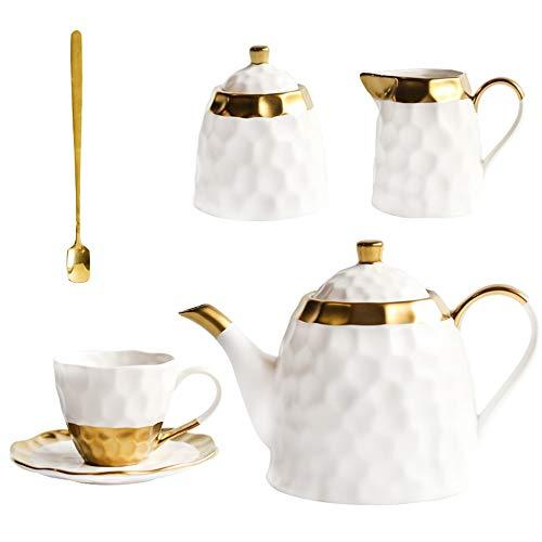 Ceramic White Coffee Cup Set Semplice pomeriggio Teacup Tea Set con la luce europeo di lusso della famiglia Water Cup Teiera for Bicchieri (Color : 1set)