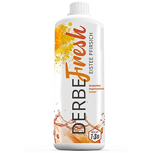 DERBE FRESH Sport Getränkekonzentrat - Eistee Pfirsich - 1 Liter Flasche (Getränke-Sirup ohne Zucker mit wenig Kalorien, Ernährungsergänzung, zuckerfreies Mineralgetränk, aspartamfrei, 1:80)