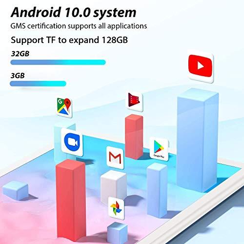 Tablet PC 8 Zoll, Android 10.0 Zertifiziert von Google GMS, 3GB RAM, 32 GB ROM/128GB erweiterbar, 1280 x 800 HD IPS Displays Bluetooth FM Quad Core,WiFi (Silber)