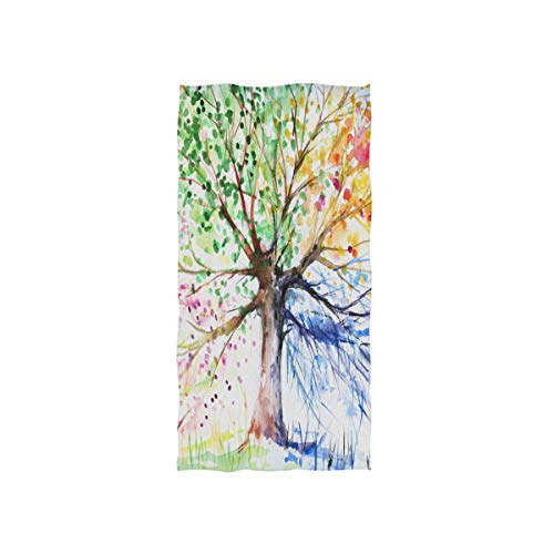 Naanle Watercolor Tree of Life Hand Painted Colorful Four Seasons Tree Soft Bath Towel Absorbent Hand Towels Multipurpose for Bathroom Hotel Gym and Spa 30'x15'
