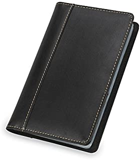 Samsill Unisex Contrast Stitch Leather Business Card Holder, Organizer Book Holds 120 Cards, Black