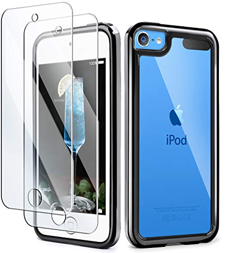 iPod Touch 7th Generation Case, IDWELL Touch 6 Touch 5 Case with 2 Screen Protectors, Clear Slim Soft TPU Black Bumper Case for Apple iPod Touch 7G 2019 Released/6G 2015 Released/5G(HD Clear-Black)