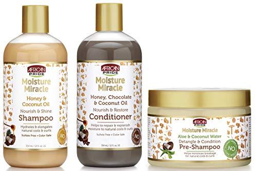 African Pride Pré-shampooing démêlant et revitalisant Moisture Miracle, Shampooing et revitalisant de 3, huile de coco, miel, miel, chocolat, huile de noix de coco, eau d'aloès et de noix de coco