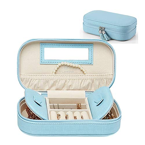 Vlando Small Travel Tassel Jewelry Box Organizer for Earrings Rings Necklaces Storage, Best Wedding Parties Gifts, Blue