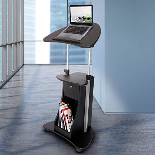 Techni Mobili Sit-to-Stand Mobile Medical Laptop Computer Cart, Black