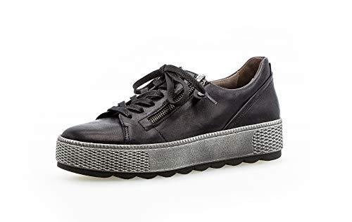 Gabor Damen Sneaker, Frauen Low-Top Sneaker,Comfort-Mehrweite,Reißverschluss,Optifit- Wechselfußbett, sportschuh Plateau-Sohle,Ocean,38 EU / 5 UK
