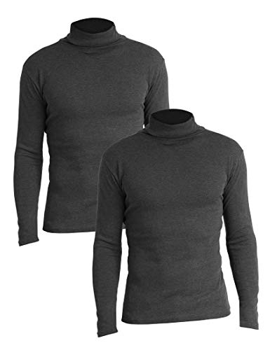 Lower East Herren Slim Fit Rollkragen Rollkragenpullover,Mehrfarbig (Anthrazit Melange - 2er Pack),X-Large