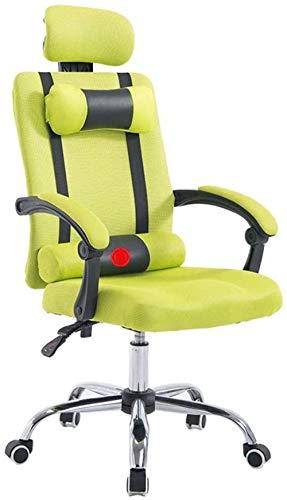 Computerstoel Bureaustoel Comfortabele stoffen bureaustoel Multifunctionele bureaustoel met beweegbare hoofdsteun (groen)