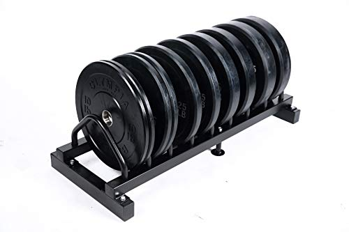 Ader 260lb Black Rubber Bumper Plate 5 Pair Set with Plate Rack