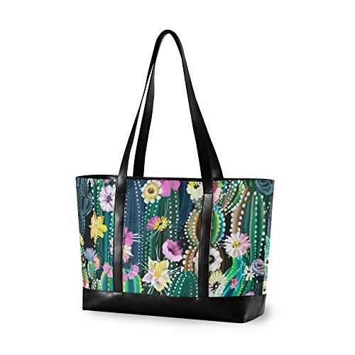 RELEESSS Tote Laptop Bags Cactus Flower Handbag Shoulder Bag Laptop Case for Women Ladies Girls