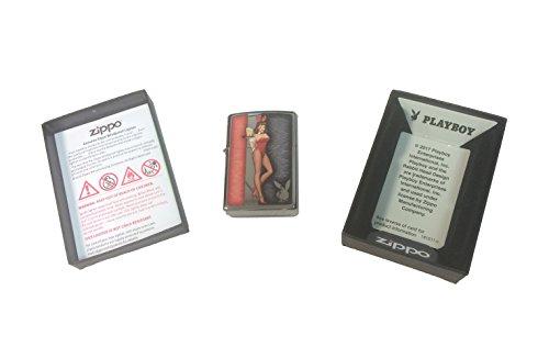 Zippo Custom Lighter - Red Costumed Playboy Cocktail Waitress with Logo - Regular High Polish Chrome