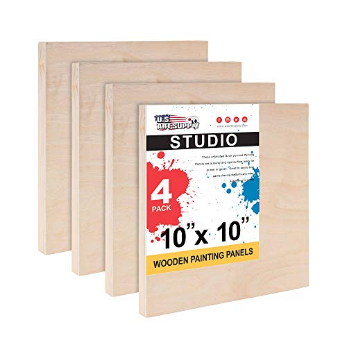 U.S. Art Supply 10' x 10' Birch Wood Paint Pouring Panel Boards, Studio 3/4' Deep Cradle (Pack of 4) - Artist Wooden Wall Canvases - Painting Mixed-Media Craft, Acrylic, Oil, Watercolor, Encaustic