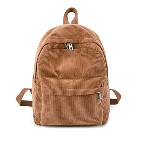 ForHe Corduroy Vintage Backpack Purse Mini Travel Rucksack Casual Daypack Small School Bag With Adjustable Strap,Khaki