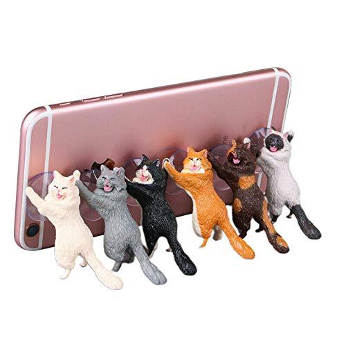 Jiudong Soporte Universal para Teléfono Móvil Gato Bonito Soporte de Resina para Cualquier Teléfono Inteligente para El Hogar La Oficina Y El Coche Soporte de Instalación Soporte de