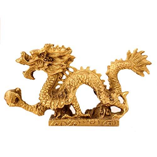 Decoration Dragon Ornaments Furniture Crafts Desktop Decoration Office Renovation Design (Color : Gold, Size : 224.411.5cm/814inch)