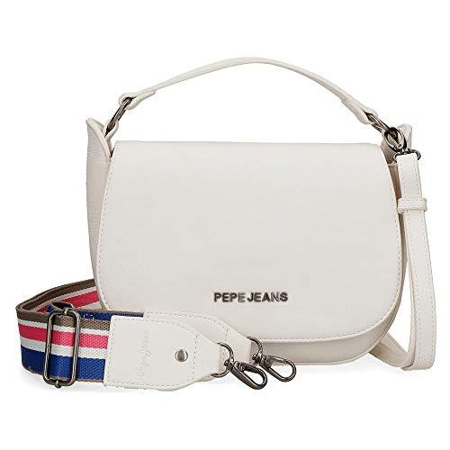 Pepe Jeans Tracolla con Patta Eva, 23x19x6 cms, Bianco