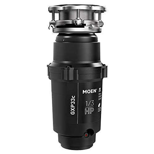 Moen GXP33C Lite Series PRO 1/3 HP Continuous Feed Garbage Disposal, Power Cord Included , Black