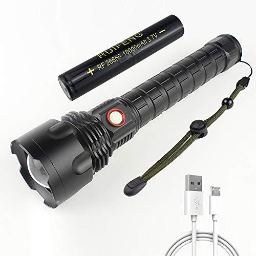 Linterna LED Recargable, LinternasLED AltaPotencia 12000 Lúmenes con Batería de 10000mAh, 5 Modos, Zoom Telescópico, Linterna Táctica XHP70 para Aventuras, Patrullas y Emergencias