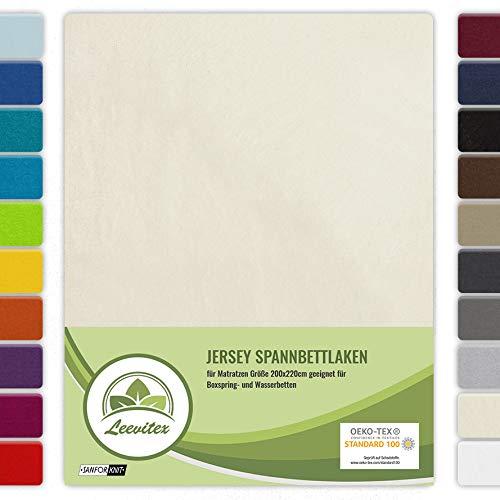 leevitex® Farbenfrohes Spannbettlaken für WASSERBETTEN & BOXSPRINGBETT Spannbetttuch Jersey 200 x 220cm, 40cm Steghöhe 100% Baumwolle ca. 160 g/m² (Creme/Naturweiß)