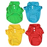 POPETPOP Ropa de Polo de Camiseta de Algodón Colores de Verano para Mascotas Gatos Perros Pequeños Mediano Grande 4pcs Talla XS (Rojo Azul Amarillo Verde)