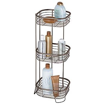 iDesign Forma Metal Wire Corner Standing Shower Caddy Bath Shelf Baskets for Shampoo Conditioner Soap 9.5  x 9.5  x 26.25  Bronze