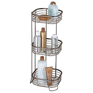 iDesign Forma Metal Wire Corner Standing Shower Caddy, Bath Shelf Baskets for Shampoo, Conditioner, Soap, 9.5  x 9.5  x 26.25 , Bronze