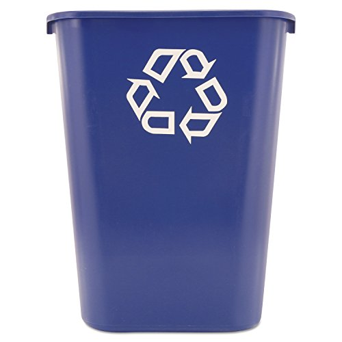 Rubbermaid Commercial Products Fg295773Blue Plastic Resin Deskside Recycling Can, 10 Gallon/41 Quart, Blue Recycling Symbol