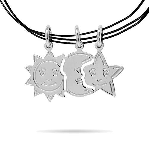 inSCINTILLE Dolci metà Collana con 3 ciondoli divisibili Sole Luna Stelle in Argento
