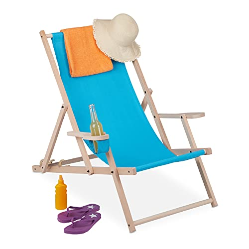 Relaxdays Sedia Sdraio Pieghevole, in Legno e Tessuto, 3 Posizioni, con i Braccioli e Porta Bevande, 120 kg, Celeste, Blu Chiaro, 1 pz