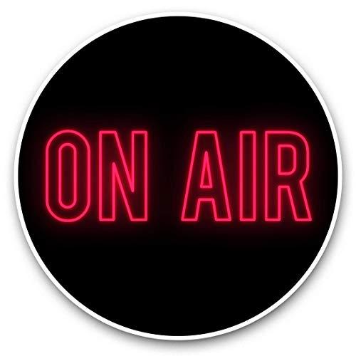 Impresionantes pegatinas de vinilo (juego de 2) 25 cm – On Air Neon Sign Radio TV Studio Divertidos calcomanías para ordenadores portátiles, tabletas, equipaje, reserva de chatarras, frigoríficos, regalo genial #45929