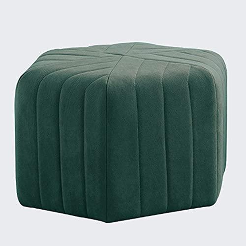 LZXH Reposapiés Hexagon Vanity Taburete, de Tela de Terciopelo Agradable para la Piel, reposapiés pequeño de Esponja de Rebote de Alta Densidad, para Sala de Estar, Dormitorio, Color Verde Tinta