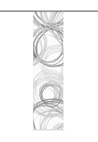 Home Fashion 87372-796 Kingston - Cortina (245 x 60 cm, impresión Digital, Semi-organdí), diseño de círculos, Color Blanco y Negro
