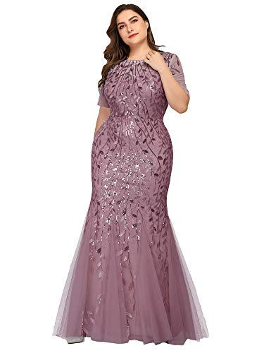 Women's Embroidered Prom Dress Long Formal Evening Party Ball Gowns Plus Size Orchid US26