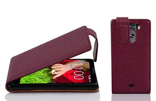Cadorabo Hülle für LG G2 Mini in Bordeaux LILA - Handyhülle im Flip Design aus Strukturiertem Kunstleder - Hülle Cover Schutzhülle Etui Tasche Book Klapp Style