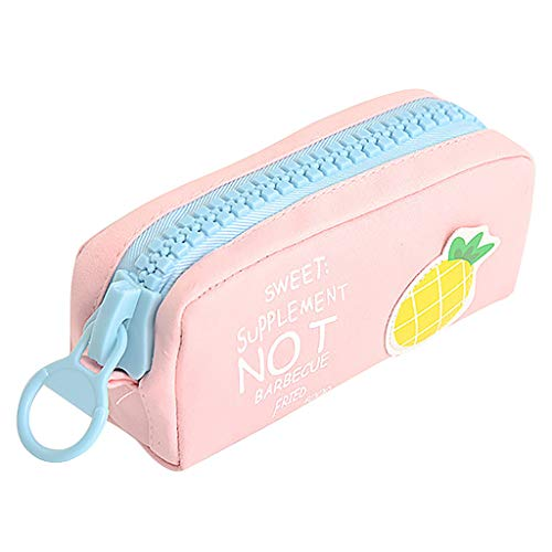 Goddesslili Cute Pencil Case, Cartoon Fruit and Veggie Zipper Large Capacity Canvas Pencil Pouch Stationery Cosmetic Bag for Boys Girls Student, Back to School Supplies, Muti Styles (PK)