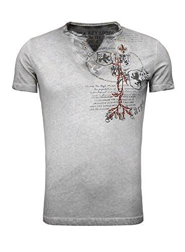 Key Largo Herren Sommer T-Shirt T WEAPON button Printshirt Slim Fit Schnitt V-Ausschnitt mit Knöpfen anthrazit XXL