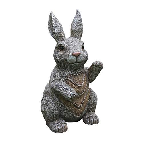Jardín al Aire Libre Decoraciones, Manualidades Conejo Artificiales, Animal de la Resina esculturas, Obras Lindo (Color : A)