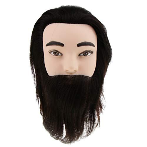 D DOLITY Tête de Mannequin Vrai Cheveux Naturel pour Cosmétologie, Design Coiffure, Maquillage, 12 pouces Noir