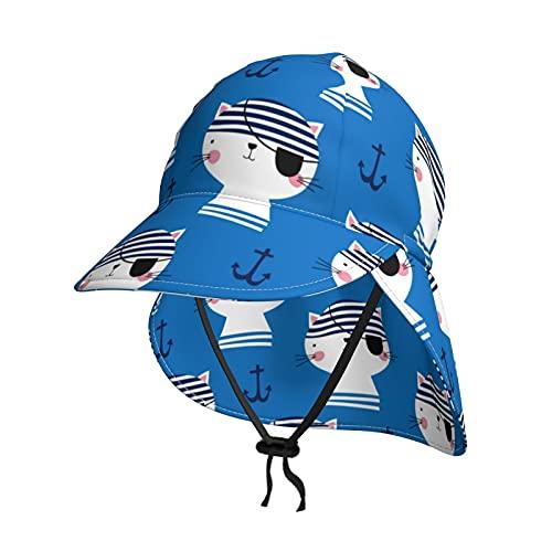 Baby Sonnenhut Süße Piraten Katze Muster Sommer Klappe Abdeckung Kappe für Kleinkind Säugling Jungen Mädchen Sonnenschutz Sportlich Hut Gr. 0-18 Monate, Schwarz