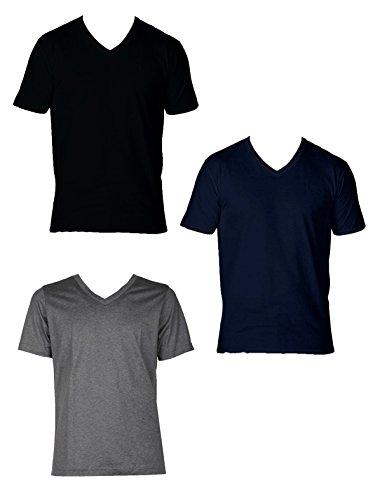 Enrico Coveri 3 t-Shirt Uomo Mezza Manica Scollo a Punta Caldo Cotone Interlock Art. ET1201 (5/L, Assortito)