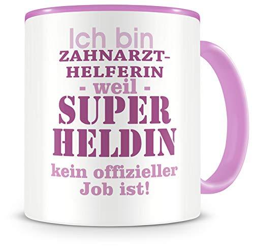 Samunshi® Ich bin Zahnarzthelferin Tasse Beruf Geschenk Kaffeetasse Teetasse Kaffeepott Kaffeebecher Becher in 2 Größe und 372 Farben (Zahnarzthelferin 300ml rosa/rosa)