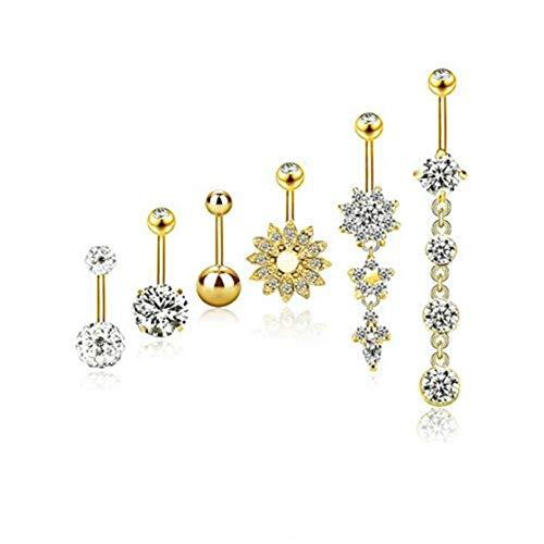 6 STÜCKE 14G 316L Chirurgenstahl CZ Bauchnabel Ringe mit Baumeln Zirkonia Gebogene Piercing Schmuck Barbells für Frauen Mädchen (Gold)