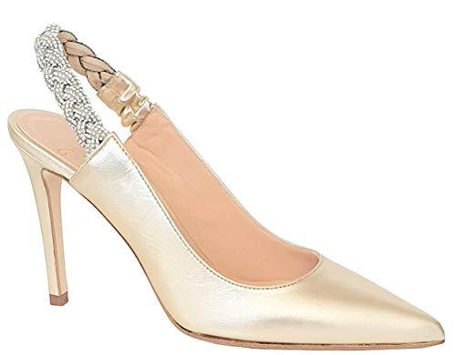 CHANTAL Scarpe Elegante da Donna Tacco 10CM Color Platino Laminato H1123
