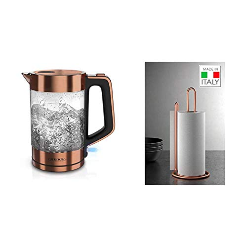 Arendo - Glas Wasserkocher Edelstahl - 1,7 Liter - 2200W - Cool Touch Griff - One Touch Verschluss - automatische Abschaltung & Metaltex MyRoll Papierrollenhalter, Metall, Kupfer, 15x32cm