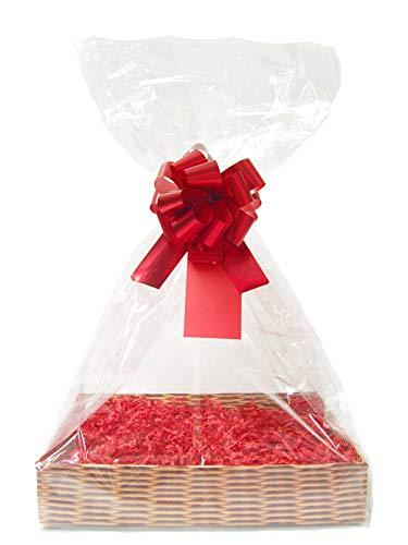 rode DIY Gift Basket belemmert Kit - rieten kartonnen lade, rode papier, rode strik, cello tas & rode geschenklabel (groot - 35cm x 24cm x 8cm hoog)