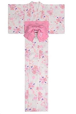 KimonoMode24 Women's Japanese Yukata And Easy Wearing Obi Set/ Cherry Blossom Pattern