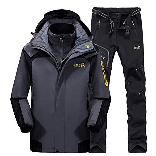 RXQCAOXIA 3-in-1 herenjack en broek, waterdicht, 2-delige set, afneembare warme fleece ski-jas, winddichte mantel met ritszakken afneembare capuchon