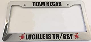 Team Negan Lucille is Thirsty with Blood Splat - Zombie Style - Chrome Automotive License Plate Frame