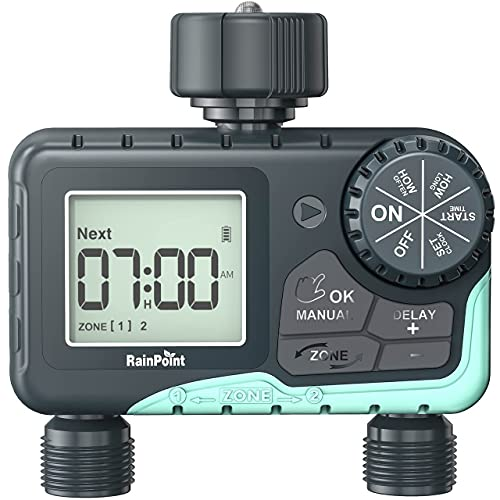 RAINPOINT Sprinkler Timer, Programmable Garden Hose Timer for Outdoor Faucet, Digital Water Timer with Rain Delay/Manual/Automatic Watering System, Waterproof Irrigation Timer for Patio Lawn,2 Outlet